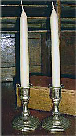Candlesmith Bayberry Tapers in Italian Brass Holders